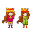 cute little girls in autumn coat and hats with vector image vector image