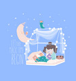cute little kid girl reading book in bedroom for vector image