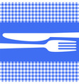 Cutlery silhouettes on blue tablecloth vector image vector image