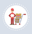 delivery man courier trolley cart shopping icon vector image vector image