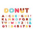 donuts alphabet sweet doughnut font letters and vector image