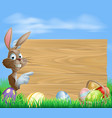 easter bunny and eggs with wooden sign vector image vector image