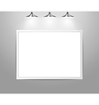 Empty gallery wall with lights vector image vector image