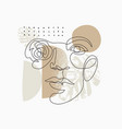 female face one line drawing with minimal shapes vector image