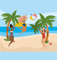 girls with swim wear design vector image