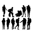 hiker silhouettes vector image vector image