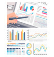 infographics on laptop screen analysis of data vector image vector image