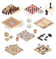 isometric board games icon set vector image vector image