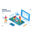 isometric page for electronics repair service vector image vector image
