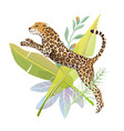 jumping jaguar in jungle nature poster design vector image