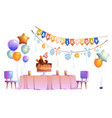 kids birthday party decoration and festive cake vector image vector image