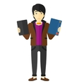 Man choosing between book and tablet computer vector image vector image