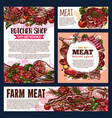 meat and sausages food product card butcher shop vector image