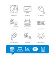 monitor printer and wi-fi router icons vector image vector image