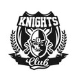 monochrome logo emblem knight in helmet against vector image vector image