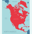 north america continent map vector image vector image