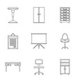 office furniture icons set outline style vector image vector image