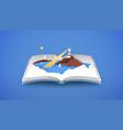 open book 3d papercut beach sea coast vector image