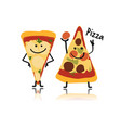 pizza slices character sketch for your design vector image vector image