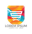 pocket and shopping cart logo design vector image vector image