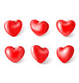 red 3d hearts valentines day love symbol vector image