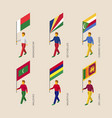 set of isometric 3d people with flags vector image vector image