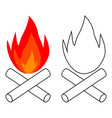 simple bonfire icon burning logs campfire vector image