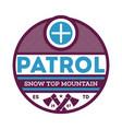 snow top mountain patrol label vector image vector image