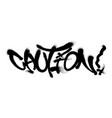 sprayed caution font graffiti with overspray in vector image