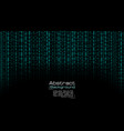 streaming blue binary code on black vector image vector image