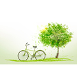 Summer background with a green tree and a bike vector image