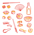 Sushi design elements vector image vector image