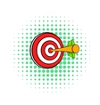Target with arrow icon comics style vector image vector image