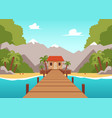tropical island landscape with wooden bridge vector image vector image