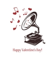 Valentine day card Vintage gramophone with vector image vector image
