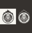 vintage monochrome boar hunting round emblem vector image vector image