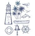 Vintage nautical set vector image vector image