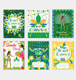 welcome brazil carnival set poster invitation vector image