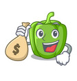 with money bag green pepper in the plate character vector image