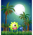 A monster watering the plants near the palm trees vector image vector image