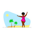 attractive woman plus size dancing on beach vector image