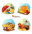 Autumn 4 Icons Square Set vector image vector image