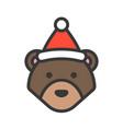 bear wearing santa hat outline icon editable