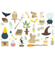 big set magical icons and items image vector image