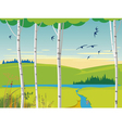 birch landscape and swallows vector image vector image