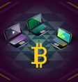 bitcoin group of three laptops on sri yantra vector image vector image