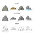 boulders a rounded mountain rocks in the sea vector image