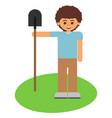 boy with a shovel vector image