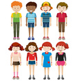 Boys and girls smiling vector image vector image