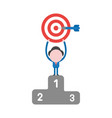 businessman character holding up bulls eye with vector image vector image
